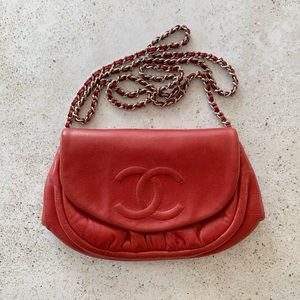 ❤️ CHANEL Half Moon Wallet on Chain Red Silver